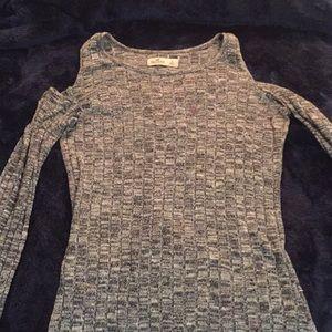 Open shoulder gray sweater